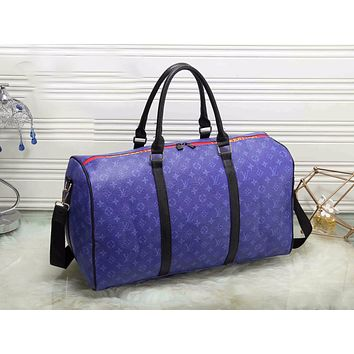 LV Louis Vuitton Fashion Women Monogram Leather Zipper Luggage Travel Bags Tote Handbag Blue I-MYJSY-BB