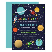 Blast Off! Outer Space Rocket Ship Birthday Party Card