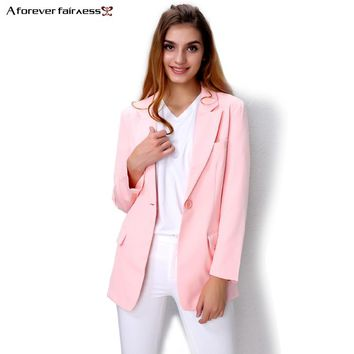 A Forever Fashion Women Suit Jacket Notched Lapel Slim Blazer Casacos Femininos Pink Suit Jacket Women Blazers Jackets AFF241