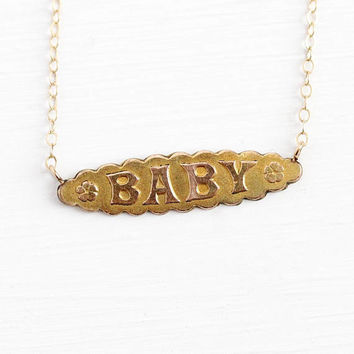 Antique Baby Necklace - Vintage 10k Yellow Rose Gold Filled Pin Conversion Pendant - Edwardian 1910s Bar Brooch Text Nameplate Jewelry