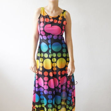 Vintage 70's Beautiful Rainbow Circles colored balls Dress Red Blue pink Green Yellow on black size S - M  FREE Shipping