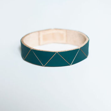 Hand Painted Leather Bangle in Dark Jade Green Geometric Triangle Pattern, Stacking Bracelet (made to order)