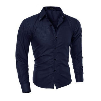 Mens Slim Stylish Dress Shirt