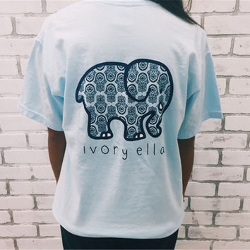 Summer Cotton Women Ivory Ella Elephant Print Casual T-shirt Female Tops