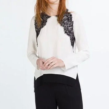 Long Sleeve Side Slit Lace Patchwork Blouse