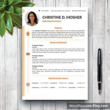 Resume Template 4 pages | CV Template + Cover Letter and Portfolio for MS Word | Curriculum Vitae Instant Digital Download