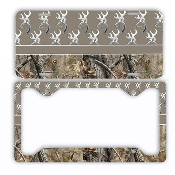 Brown Browning Camo License Plate Frame Car Tag Country Hunting