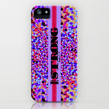 BE STRONG Bold Colorful Purple Abstract Painting Pattern Christian Scripture Inspiration Typography iPhone & iPod Case by The Faithful Canvas