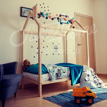 Montessori bed, children bed 190x90cm, frame bed, wood bed, kids teepee, baby bed house, nursery crib, children furniture, toddler bed, LEGS