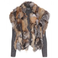 miu miu - cardigan with fur vest