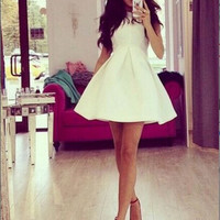 White Sleeveless Dress mini bodycon dress sexy bandage summer dress = 1876626308