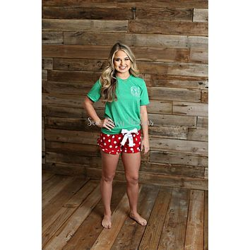 Christmas Pajamas - Green T shirt / Polka Dot Pajama Shorts