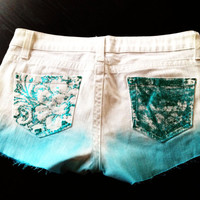 Dip dyed whit and blue shorts