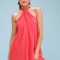 Sand and Deliver Coral Pink Swim Cover-Up