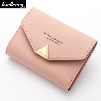 solid short top Leather Mini envelope Wallet Women Small Clutch Female Purse Coin Card Holder Bag Cuzdan with mental Triangle