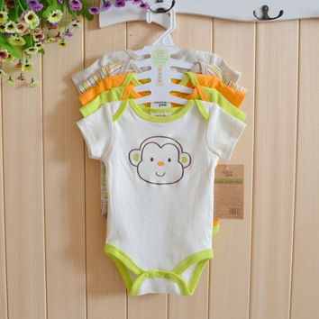 5pcs/lot 2015 Summer Baby Boy Clothes Short Sleeve Cartoon Romper Baby Romper Infant Rompers Baby Boy Girl Clothes