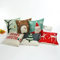 HOSL PSD21 Merry Christmas Cotton Linen Square Decorative Throw Pillow Case Cushion Cover (Set of 6)