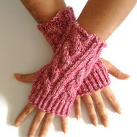 Fingerless Gloves Wrist Warmers in Rose Mist Cable Handknit