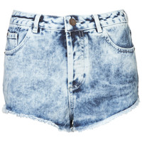MOTO Acid Wash Denim Hotpants - Hotshop - Clothing - Topshop USA