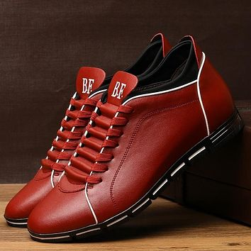 Men's Casual Leather Lace Up Flat Shoes (Brown,Black,Blue,Orange,Red)