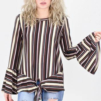 All About Vertical Stripes L/S Tie Front Top {Plum Mix}