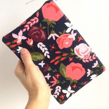Small Makeup Bag, Floral Zipper Pouch, Navy Cosmetic Bag, Small Travel Pouch
