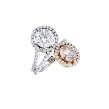 Fred Leighton - 18K Gold Gray & Pink Diamond Crossover Ring