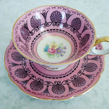 Teacup and Saucer Set in Hot Pink  Vintage Tea by SwirlingOrange11