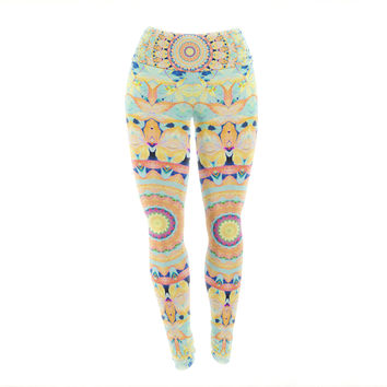 "Iris Lehnhardt ""Flourish"" Circle Yellow Yoga Leggings"