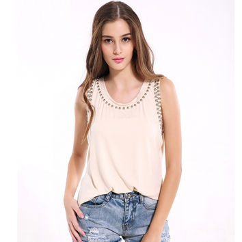 Hot sale women tank tops sleeveless off shoulder vest female O neck pearl beads solid color large size loose top ZT1512