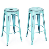 Furnistar Antique-Style Sky Blue 30-inch Metal Counter Bar Stools (Set of 2)