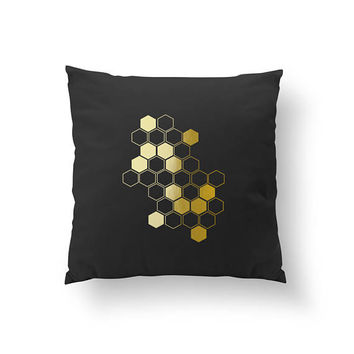 Gold Honeycomb Pillow, Honeycomb Pillow, Home Decor, Cushion Cover, Throw Pillow, Bedroom Decor, Modern Pillow, Bed Pillow, Gold Pillow.