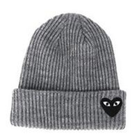 Red Heart Face Man Winter Warm Thick Knitted Heart Shaped Beanie Casual Women's Outdoor Street Dance Fitted Gray Cuffed Skully Hat