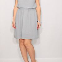 Light grey dress Short Chiffon dress Bridesmaid dress Keyhole dress