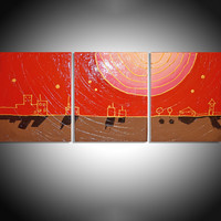 ARTFINDER: city of gold impasto eldorado triptych abstract original abstract contemporary original acrylic varnished painting art canvas - 60 x 28 inches by Stuart Wright - 3 piece canvas art  NEW ORIGINAL MODERN TEXTU...