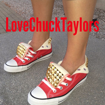 Studded Converse Chuck Taylors Red All Sizes by LoveChuckTaylors