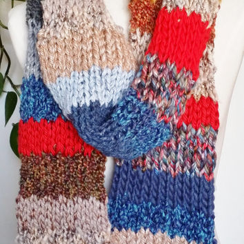 Gypsy Bohemian Scarf, Knit Scarf, Mixed Fiber Art, Fashion Knitwear, Multicolor, Colorful, One of a Kind