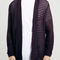 BURGUNDY SHEER RIB OPEN CARDIGAN - Men's Cardigans & Sweaters - Clothing