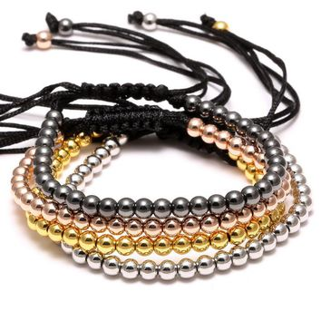 1PC Newest Knitted String Rope Bracelet 4mmCopper Bead Bracelet Jewelry Women Men Gold Color Charm Braided Mala Bracelet Jewelry