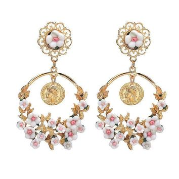 Pastoral retro exaggerated fresh flower big ring earrings