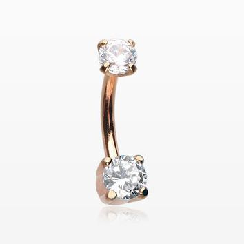 Rose Gold Pristine Gem Sparkles Internally Threaded Curved Barbell