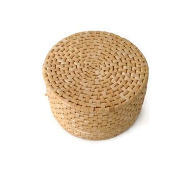 Set of Two Hand Woven Grass Lidded Round Nesting Baskets