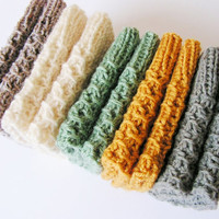 Hand Knitted Womens Boot cuffs, Leg warmers, Boot toppers, White Green Mustard Gray Brown/Gray melange