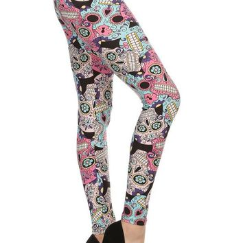 Women's Sugar Skull Leggings Skull Candy Pink/Blue: OS/PLUS