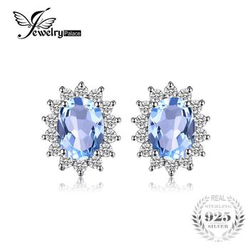 JewelryPalace Princess Diana William Kate 1.2ct Natural Blue Topaz Halo Stud Earrings 925 Sterling Silver Jewelry Women Fashion