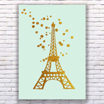 Eiffel Tower Gold Art Print Instant Download Printable Mint Edition