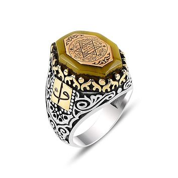 Mens amber gemstone angular ring 925 sterling silver with seal of solomon