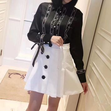 """Chanel"" Women Retro Letter Embroidery Ribbon Bow Long Sleeve Shirt High Waist Short A Word Skirt Set Two-Piece"