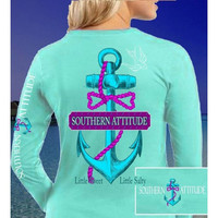 Country Life Outfitters Southern Attitude Anchor Bow Mint Vintage Long Sleeves T Shirt
