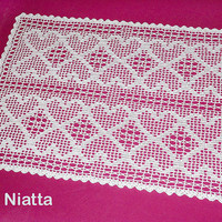 Rectangular Filet Doily Crochet Heart White Wedding Gift Handmade Runner Fine Thread Niatta